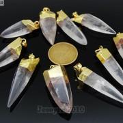 Natural-Crystal-Quartz-Rock-Gemstone-Hexagonal-Spear-Pointed-Pendant-Charm-Gold-281668028311-72db