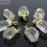 Natural-Crystal-Quartz-Rock-Gemstone-Hexagonal-Spear-Pointed-Pendant-Charm-Gold-281668028311-a931