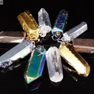 Natural-Crystal-Quartz-Rock-Gemstone-Pointed-Pendant-Focal-Charm-Beads-Healing-371132631335