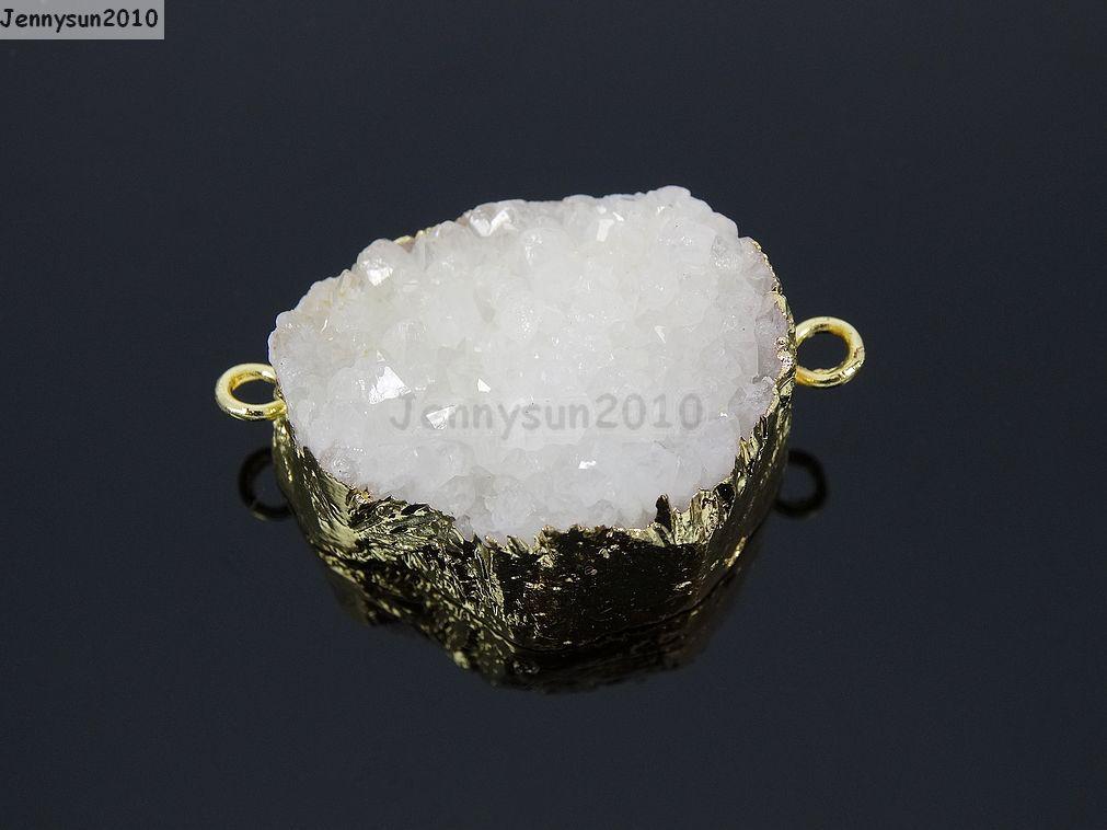 Natural Druzy Quartz Agate Bracelet Necklace Connector