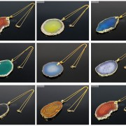 Natural-Druzy-Quartz-Agate-Gemstone-Sliced-Pendant-Charm-Bead-Necklace-18K-Gold-371320043278-4