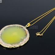 Natural-Druzy-Quartz-Agate-Gemstone-Sliced-Pendant-Charm-Bead-Necklace-18K-Gold-371320043278-a52b