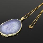 Natural-Druzy-Quartz-Agate-Gemstone-Sliced-Pendant-Charm-Bead-Necklace-18K-Gold-371320043278-ccc4
