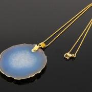 Natural-Druzy-Quartz-Agate-Gemstone-Sliced-Pendant-Charm-Bead-Necklace-18K-Gold-371320043278-e911
