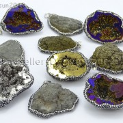 Natural-Druzy-Quartz-Agate-Geode-Czech-Crystal-Rhinestones-Pendant-Charm-Beads-262175353146-2