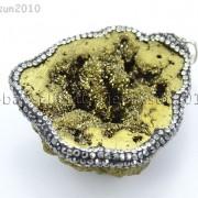 Natural-Druzy-Quartz-Agate-Geode-Czech-Crystal-Rhinestones-Pendant-Charm-Beads-262175353146-2c9f