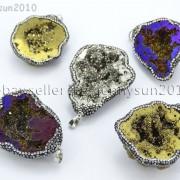 Natural-Druzy-Quartz-Agate-Geode-Czech-Crystal-Rhinestones-Pendant-Charm-Beads-262175353146-3