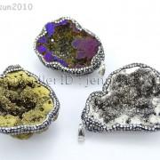 Natural-Druzy-Quartz-Agate-Geode-Czech-Crystal-Rhinestones-Pendant-Charm-Beads-262175353146-4