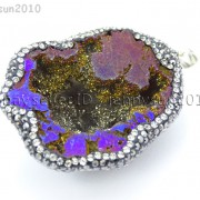 Natural-Druzy-Quartz-Agate-Geode-Czech-Crystal-Rhinestones-Pendant-Charm-Beads-262175353146-f785