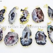 Natural-Druzy-Quartz-Agate-Geode-Sliced-Pendant-Gold-Edge-Charm-Beads-Necklace-371333097950