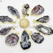 Natural-Druzy-Quartz-Agate-Geode-Sliced-Pendant-Gold-Edge-Charm-Beads-Necklace-371333097950-2