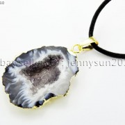 Natural-Druzy-Quartz-Agate-Geode-Sliced-Pendant-Gold-Edge-Charm-Beads-Necklace-371333097950-5f77