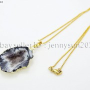 Natural-Druzy-Quartz-Agate-Geode-Sliced-Pendant-Gold-Edge-Charm-Beads-Necklace-371333097950-aa42