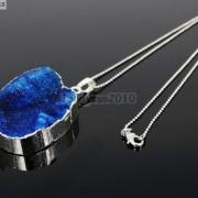 Natural-Druzy-Quartz-Agate-Nugget-Pendant-Charm-Beads-18K-Silver-Gold-Necklace-371315219758-00ba