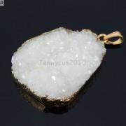 Natural-Druzy-Quartz-Agate-Nugget-Pendant-Charm-Beads-18K-Silver-Gold-Necklace-371315219758-723f