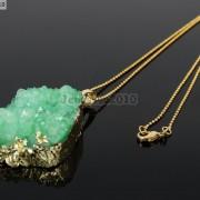 Natural-Druzy-Quartz-Agate-Nugget-Pendant-Charm-Beads-18K-Silver-Gold-Necklace-371315219758-a45c