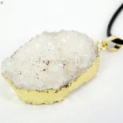 Natural-Druzy-Quartz-Agate-Nugget-Pendant-Charm-Beads-18K-Silver-Gold-Necklace-371315219758-f9c9