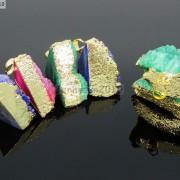 Natural-Druzy-Quartz-Agate-Triangle-Pendant-Gold-Edge-Charm-Beads-Necklace-18K-261879675276-3