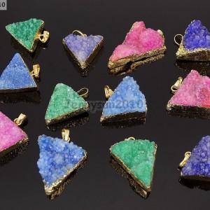 Natural-Druzy-Quartz-Agate-Triangle-Pendant-Gold-Edge-Charm-Beads-Necklace-18K-261879675276