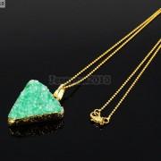 Natural-Druzy-Quartz-Agate-Triangle-Pendant-Gold-Edge-Charm-Beads-Necklace-18K-261879675276-3187