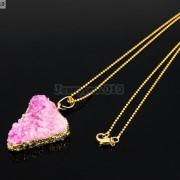 Natural-Druzy-Quartz-Agate-Triangle-Pendant-Gold-Edge-Charm-Beads-Necklace-18K-261879675276-69ec