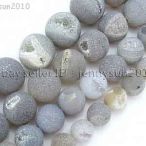 Natural-Druzy-Quartz-Matte-Grey-Agate-Gemstone-Round-Beads-155-10mm-12mm-14mm-371513782164