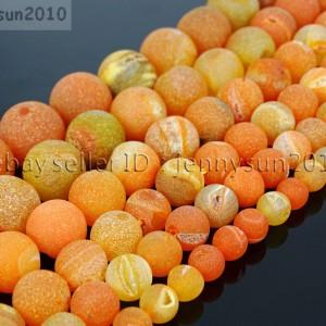 Natural-Druzy-Quartz-Matte-Orange-Agate-Gemstone-Round-Beads-155-8mm-10mm-12mm-281888232944