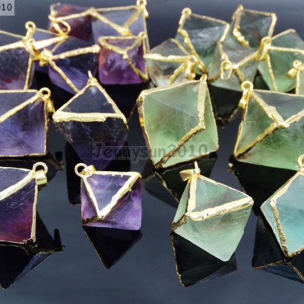 Natural-Fluorite-Gemstone-Octagonal-Pointed-Reiki-Healing-Pendants-Gold-Edge-261832014194