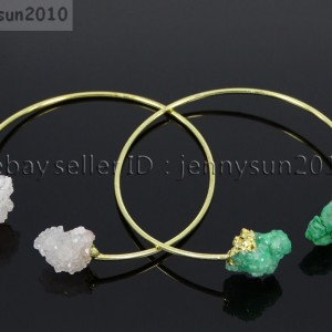 Natural-Freeform-Druzy-Crystal-Quartz-Gemstone-18K-Gold-Plated-Bangle-Bracelet-371565121437