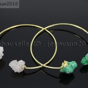 Natural-Freeform-Druzy-Crystal-Quartz-Gemstone-18K-Gold-Plated-Bangle-Bracelet-371565121437