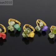 Natural-Freeform-Druzy-Crystal-Quartz-Gemstone-18K-Gold-Plated-Ring-Healing-371576364292-2