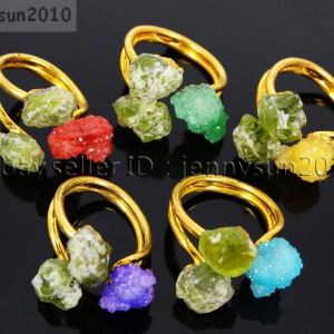 Natural-Freeform-Druzy-Crystal-Quartz-Gemstone-18K-Gold-Plated-Ring-Healing-371576364292