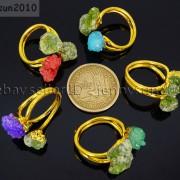 Natural-Freeform-Druzy-Crystal-Quartz-Gemstone-18K-Gold-Plated-Ring-Healing-371576364292-4