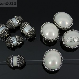Natural-Freshwater-Cultured-White-Pearl-Crystal-Rhinestones-Oval-Charm-Beads-371493706349