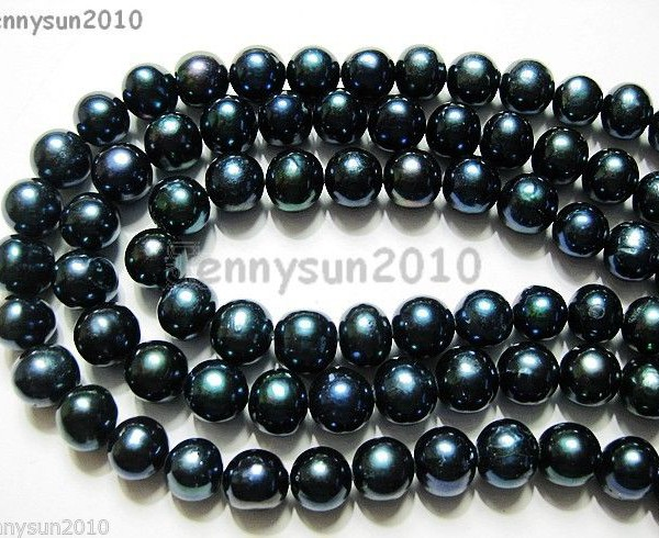 Natural-Freshwater-Pearl-Potato-Beads-15-9mm-10mm-Dark-Peacock-Black-Grey-261213106269