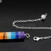 Natural-Gemstone-Layered-Hexagonal-Pointed-Reiki-Chakra-Healing-Pendum-Chain-Set-371294783171-6