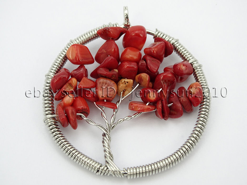Natural Gemstone Reiki Chakra Chip Beads Tree Of Life