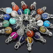 Natural-Gemstone-Round-Ball-Eagle-Claw-Falcon-Talons-Healing-Pendant-Charm-Bead-262762610662