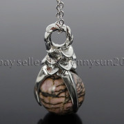 Natural-Gemstone-Round-Ball-Eagle-Claw-Falcon-Talons-Healing-Pendant-Charm-Bead-262762610662-da1f