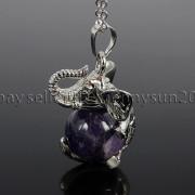 Natural-Gemstone-Round-Ball-Reiki-Chakra-Healing-Elephant-Pendant-Necklace-Beads-262733039975-027a