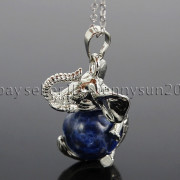 Natural-Gemstone-Round-Ball-Reiki-Chakra-Healing-Elephant-Pendant-Necklace-Beads-262733039975-2333