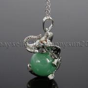 Natural-Gemstone-Round-Ball-Reiki-Chakra-Healing-Elephant-Pendant-Necklace-Beads-262733039975-364f