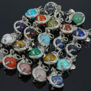 Natural-Gemstone-Round-Ball-Reiki-Chakra-Healing-Elephant-Pendant-Necklace-Beads-262733039975-4
