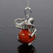 Natural-Gemstone-Round-Ball-Reiki-Chakra-Healing-Elephant-Pendant-Necklace-Beads-262733039975-478d