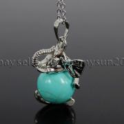Natural-Gemstone-Round-Ball-Reiki-Chakra-Healing-Elephant-Pendant-Necklace-Beads-262733039975-687d
