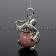 Natural-Gemstone-Round-Ball-Reiki-Chakra-Healing-Elephant-Pendant-Necklace-Beads-262733039975-7054