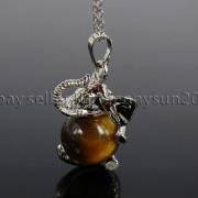 Natural-Gemstone-Round-Ball-Reiki-Chakra-Healing-Elephant-Pendant-Necklace-Beads-262733039975-bc3e