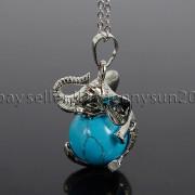 Natural-Gemstone-Round-Ball-Reiki-Chakra-Healing-Elephant-Pendant-Necklace-Beads-262733039975-be89