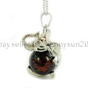 Natural-Gemstone-Round-Ball-Reiki-Chakra-Healing-Elephant-Pendant-Necklace-Beads-262733039975-cd1b