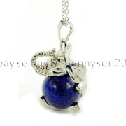 Natural-Gemstone-Round-Ball-Reiki-Chakra-Healing-Elephant-Pendant-Necklace-Beads-262733039975-d0d7